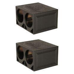Q Power Dual 10 Inch Triangle Ported Subwoofer Box W/ Bedliner Spray 2 Pack