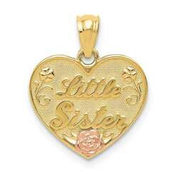 14k Yellow And Rose Gold Little Sister Heart Pendant