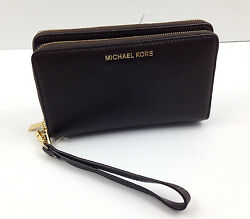 NWT Michael Kors ADELE Phone Case Wallet Wristlet COFFEE Leather $168 Free Ship