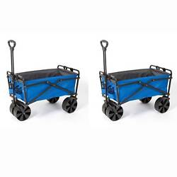 Seina Powder Coated Steel Collapsible Garden Cart Wagon, Blue And Grey 2 Pack