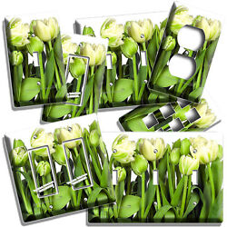 FLORAL WHITE GREEN STEM TULIPS FLOWERS LIGHT SWITCH OUTLET WALL PLATE ROOM DECOR