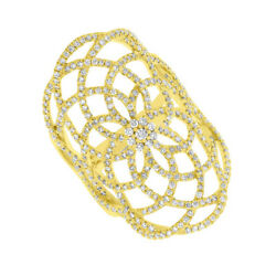 Diamond Flower Lace Long Cocktail Ring 14k Yellow Gold Natural Round Cut 1.14ct