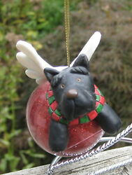 Russ Berrie 2 Flying Scottie Dogs Angels Christmas Ornaments