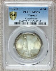 1914 Norway 2 Kroner Constitution Silver Coin - Pcgs Ms 65 - Km 377 - Top Pop