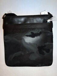 NEW $350 men COACH CHARLES CROSSBODY BAG IN BLACKOUT MIXED MATERIALS RARE