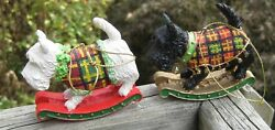 Pair of Black and White Scottie Dog on Rockers Ornaments