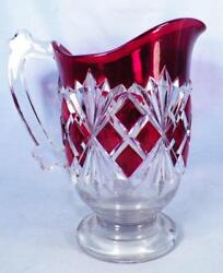 Antique Sheaf And Block Pitcher Ruby Stained Glass Co-op Eapg Pressed