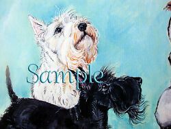 Scottish Terrier Print - Two Scotties and Wren - Dog Art by Cherry O'Neill