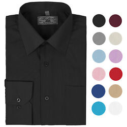 Boltini Italy Menand039s Long Sleeve Solid Barrel Cuff Dress Shirt
