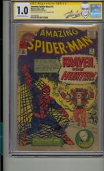Amazing Spider-man 15 Cgc 1.0 Ss Signed Stan Lee 1st App Kraven The Hunter