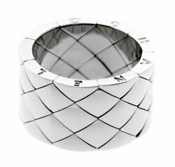 Matelasse White Gold Quilted Ring 0000528 7.5 Pre Owned-in Original Box