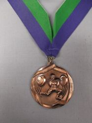 Lot Of 15 Bronze Male Weightlifter 2 1/4 Dia Medal Wide Blue/green Neck Drape