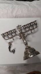Pre-war Hanukah Menorah Silver Made In Germany 1930and039s Floral Hand Chasing.andnbsp