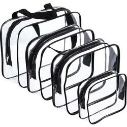 Hotop 4 Pieces Clear Make-up Bags Travel Toiletry Bag Organizers for...