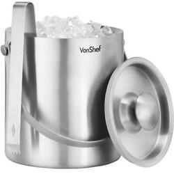 Starcrafts 72286 Stainless Steel Double Wall Ice Bucket With Lid 2 Liter