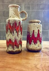 Mid Century Scheurich Pottery - Brown And Red Carafe Set
