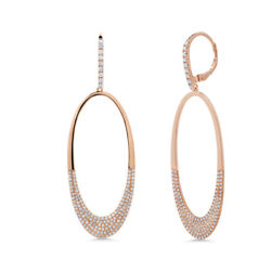 0.94 Ct 14k Rose Gold Natural Round Diamond Pave Dangle Drop Open Oval Earrings