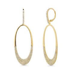 0.94ct 14k Yellow Gold Natural Round Diamond Pave Dangle Drop Open Oval Earrings