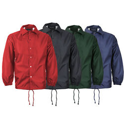 Menand039s Water Resistant Lightweight Button Up Windbreaker Drawstring Coach Jacket