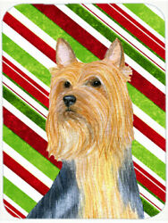 Silky Terrier Candy Cane Holiday Christmas Glass Cutting Board