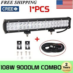 17inch 108w Led Work Light Bar Combo Offroad Driving 4wd Truck Atv W/ Wiring Kit