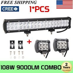 17inch 108w Led Offroad Light Bar Driving 4wd Truck Suv W/ 18w 4inch Work Lights