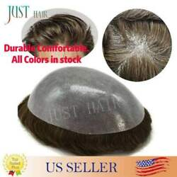 Mens Hair Replacement System All Poly Skin Men Toupee Hairpieces Human Hair Wigs