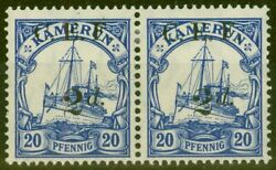Cameroon 1915 2d On 20pf Ultramarine Sgb4a Surch Double One Albino V.f Very L...