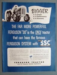 1952 Ferguson 30 Tractor Ad Bigger In Power - In Performance - In Economy