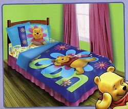Disney Winnie The Pooh Twin Comforter Set Bed In A Bag Bedding + Wall Art