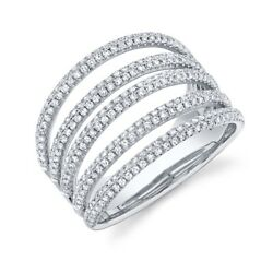 14k White Gold Diamond Pave Multi Row Band Ring Open Cocktail Wide Dome Womens