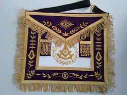 Masonic Hand Embroidered Grand Lodge Past Master Apron Purple Fast Dhl Delivery