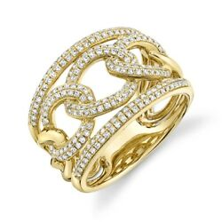 14k Yellow Gold Diamond Link Ring Braided Cocktail Womens 0.60 Ct Round Cut 7