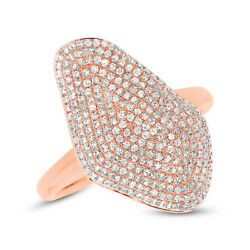 0.62 Ct 14k Rose Gold Natural Round Cut Diamond Pave Wavy Wide Cocktail Ring