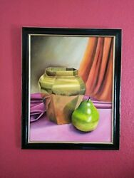 Gold Vase And Pear Original Oil Hand Painted Still Life Art By Jv 16x 20in.