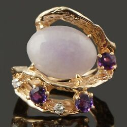 Free Form Solid 14k Gold Lavender Jade Diamond And Amethyst Cocktail Estate Ring