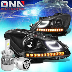 BLACK HALO PROJECTOR HEADLIGHT+WHITE LED H7 HID WFAN FIT 12-14 C-CLASS W204