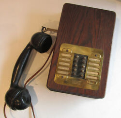 Antique INTERCOM Switchboard 10 Button Brass & Oak Military? Aviation? TELEPHONE