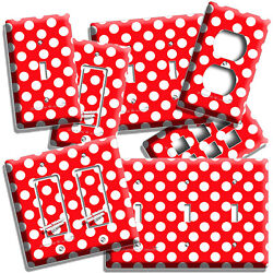 RED WHITE POLKA DOTS LIGHT SWITCH OUTLET PLATE INFANT BABY NURSERY ROOM HD DECOR