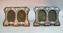 Fine Pair Of Hutton And Sons Sterling And Enamel Art Nouveau Picture Frames C. 1904
