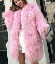 Women Fur Coat Mid Long Solid Pink Warm Vogue Party Scoop Neck Club Formal Chic