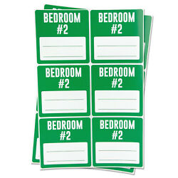 BEDROOM #2 Blank Labels for Memo Note Home Clearance Moving Box Stickers 4PK