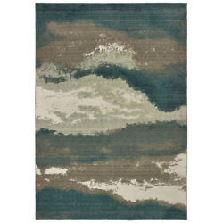 Sphinx Blue Faded Banded Rows Vintage Contemporary Area Rug Abstract 1801b