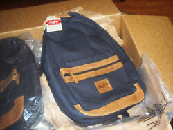 NEW RAWLINGS Canvas amp; LEATHER BackPack Navy heavy Denim and BEIGE LEATHER $79.99