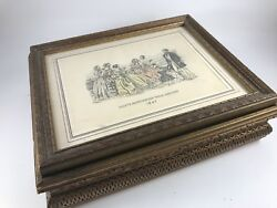 Vintage Picture Framejewelry Box Glove Box With Godey's Fashion Plates