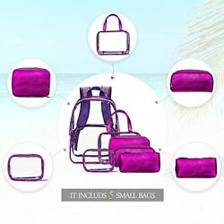 NiceEbag 6 in 1 Clear Backpack with Cosmetic Bag Set Makeup Pouch OrganizerClea