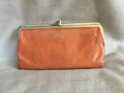 Hobo International Lauren Double Frame Clutch Wallet Coral Leather