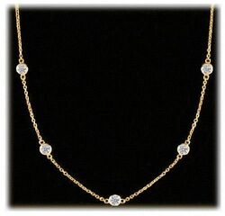 1.75 carat 7 Round cut Diamonds By The Yard 18k Yellow Gold Necklace 17 inch #82