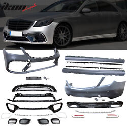 Fits 17-19 Benz W222 S550 S600 AMG Style Front + Rear Bumper Cover + Side Skirts