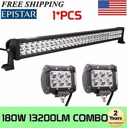 32inch 180w Combo Led Work Light Bar Offroad Driving Ute+2x 4 In 18w Light 30